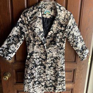 Forever 21 B&W paint splatter design trench coat